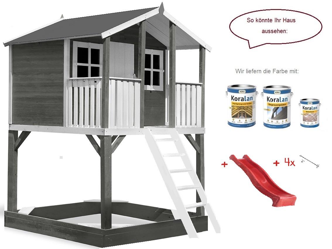 Stelzenhaus Tobi Premium xxl inkl. Farbe / Grau – Bild 5