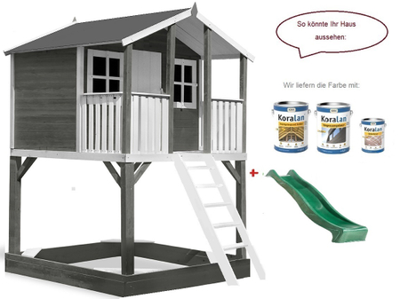 Stelzenhaus Tobi Premium, Podesthöhe 1,50 m, inkl. Farbe / Grau – Bild 4