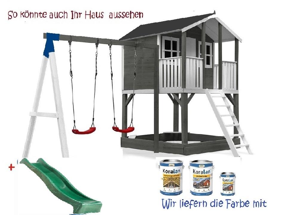 Stelzenhaus Tobi Premium mit Schaukel incl. Farbe – Bild 6