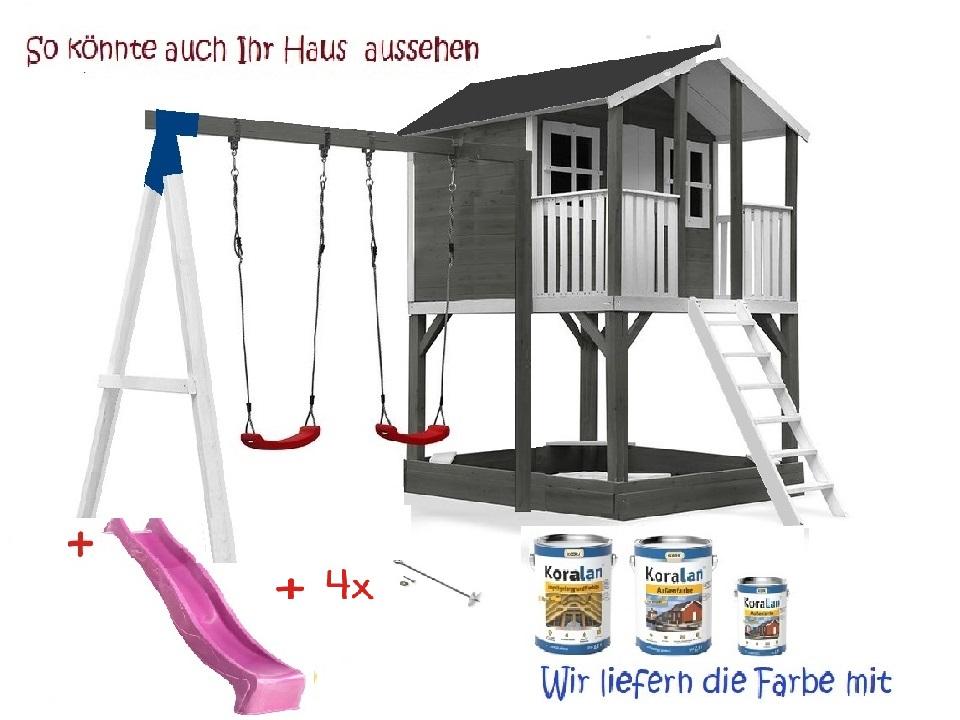 Stelzenhaus Tobi Premium mit Schaukel & Farbe – Bild 9