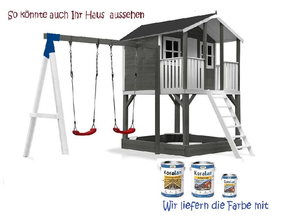 Stelzenhaus Tobi Premium mit Schaukel & Farbe