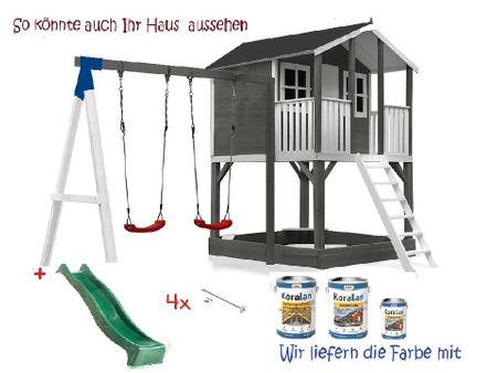 Stelzenhaus Tobi Premium mit Schaukel incl. Farbe – Bild 13