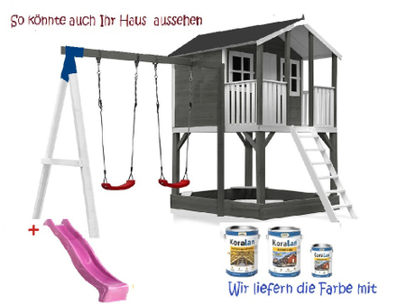 Stelzenhaus Tobi Premium mit Schaukel incl. Farbe – Bild 10