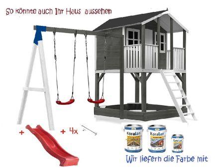 Stelzenhaus Tobi Premium mit Schaukel & Farbe – Bild 11