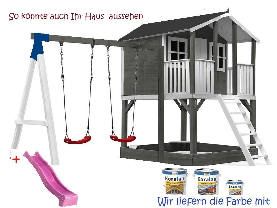Stelzenhaus Tobi - Swing - 719 - Holzschutz-Farbset Grau inklusive – Bild 5