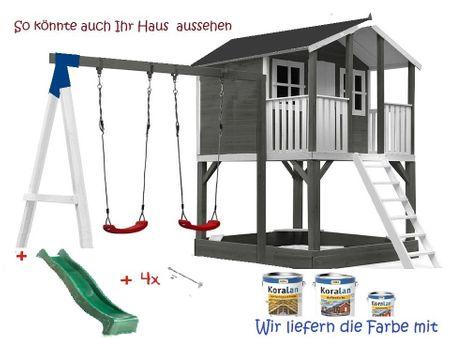 Stelzenhaus Tobi - Swing - 719 - Holzschutz-Farbset Grau inklusive – Bild 8