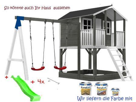 Stelzenhaus Tobi Premium xxl  mit Schaukel & Farbe / Grau  – Bild 10
