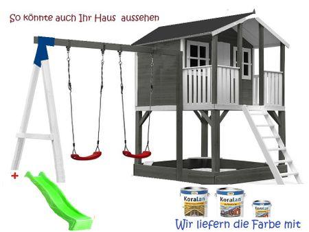 Stelzenhaus Tobi Premium xxl  mit Schaukel & Farbe / Grau  – Bild 11