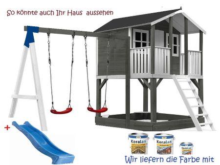 Stelzenhaus Tobi Premium xxl  mit Schaukel & Farbe / Grau  – Bild 3