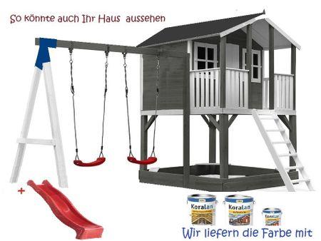 Stelzenhaus Tobi Premium xxl  mit Schaukel & Farbe / Grau  – Bild 7