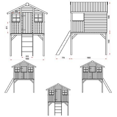 Stelzenhaus Tobi - Swing - 719 - Holzschutz-Farbset Grau inklusive – Bild 2