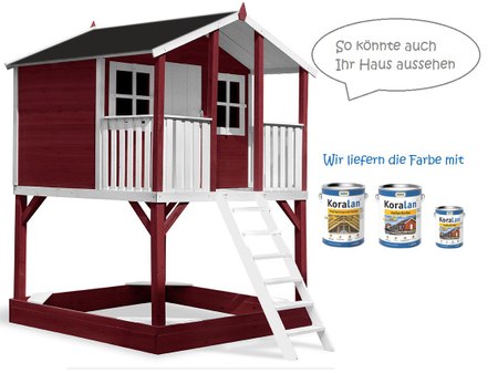 Stelzenhaus Tobi Premium incl. Farbe / Rot – Bild 1