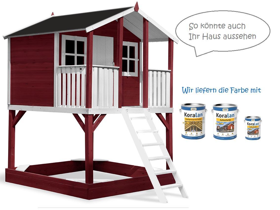 Stelzenhaus Tobi - Swing - 719 - Holzschutz-Farbset Rot inklusive – Bild 2