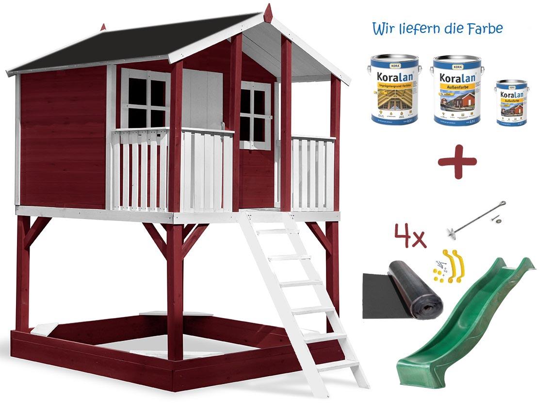 Stelzenhaus Tobi - Swing - 719 - Holzschutz-Farbset Rot inklusive – Bild 9