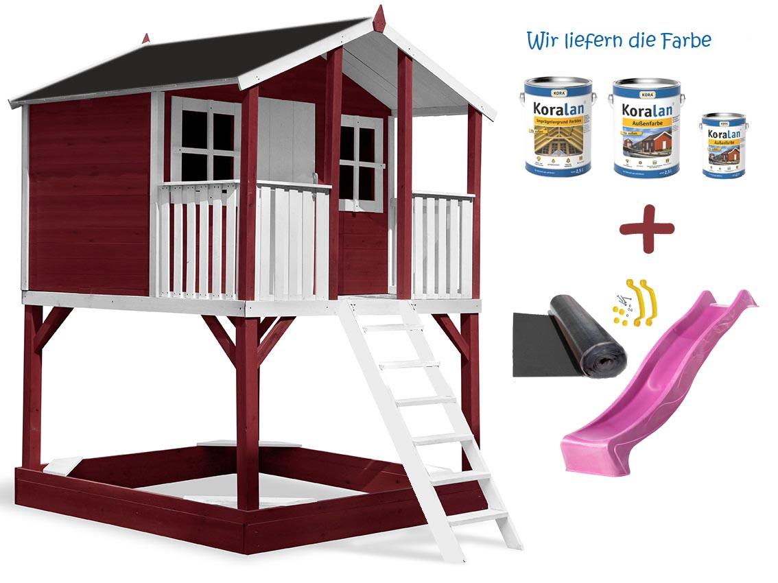 Stelzenhaus Tobi - Swing - 719 - Holzschutz-Farbset Rot inklusive – Bild 10