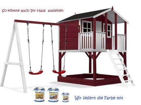 Stelzenhaus Tobi - Swing - 719 - Holzschutz-Farbset Rot inklusive – Bild 1