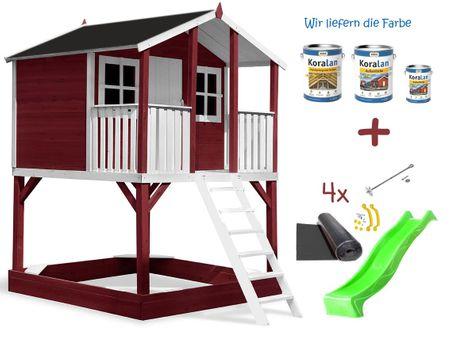 Stelzenhaus Tobi - Swing - 719 - Holzschutz-Farbset Rot inklusive – Bild 5