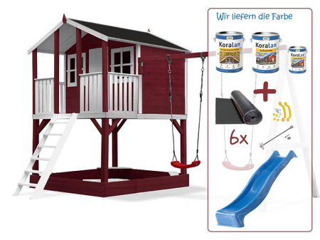 Stelzenhaus Tobi - Swing - 719 - Holzschutz-Farbset Rot inklusive – Bild 18