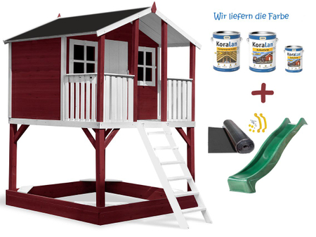 Stelzenhaus Tobi - Swing - 719 - Holzschutz-Farbset Rot inklusive – Bild 8