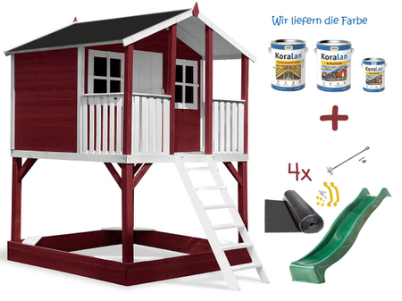 Stelzenhaus Tobi Premium XXL incl. Farbe / Rot – Bild 9
