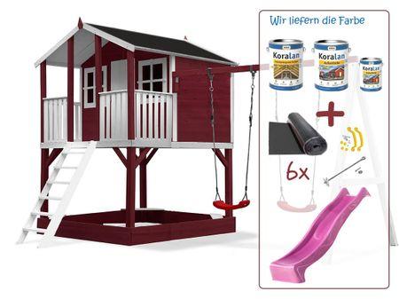 Stelzenhaus Tobi - Swing - 719 - Holzschutz-Farbset Rot inklusive – Bild 22