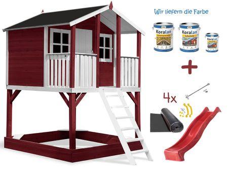 Stelzenhaus Tobi - Swing - 719 - Holzschutz-Farbset Rot inklusive – Bild 13